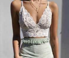 a white, lace v-neck camisole