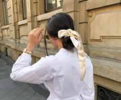 a silky hair scarf