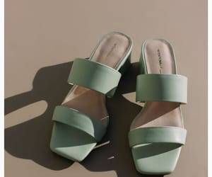 light green, strappy mules
