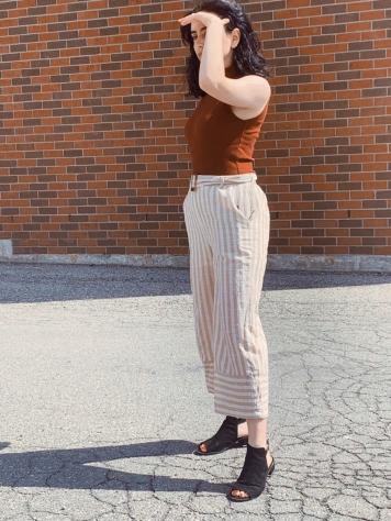 striped culottes, wide leg pants, orange bodysuit