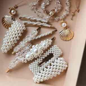 beaded hair clips and pearl hair clips