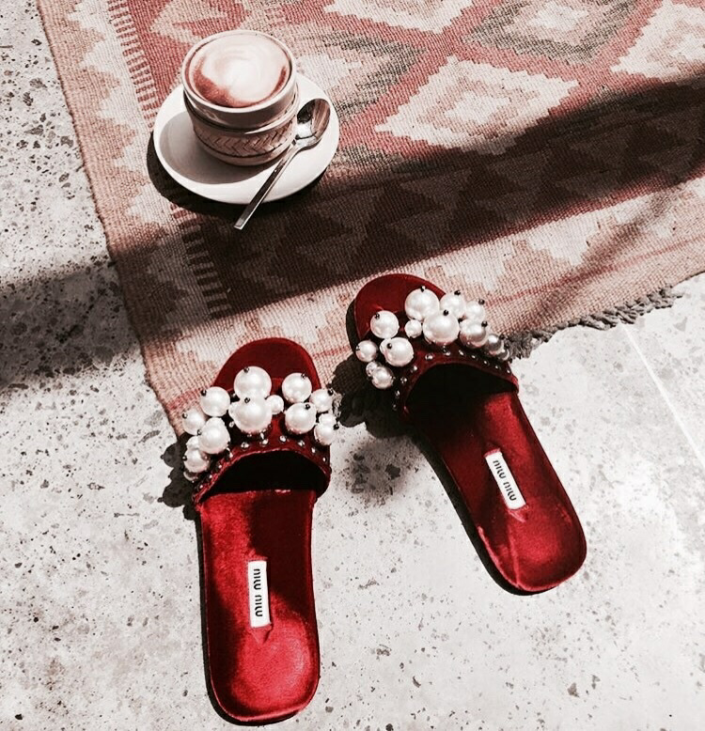Red mules with pearls