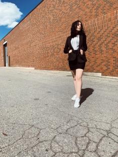 black skirt, black blazer, striped shirt, adidas superstars