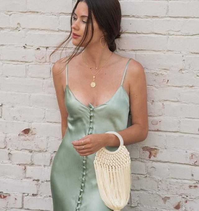 a silk or satin green dress