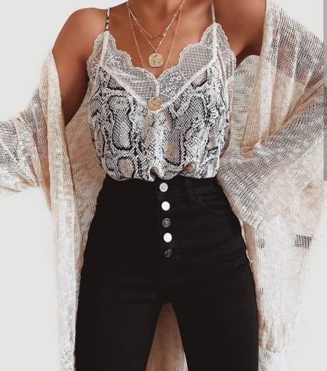 snakeskin print camisole with a thin cardigan