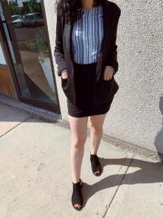 black skirt, black blazer, striped shirt, peep-toe booties