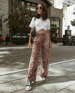 Leopard print statement pants