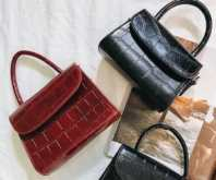 three trendy mini bags, in red and black